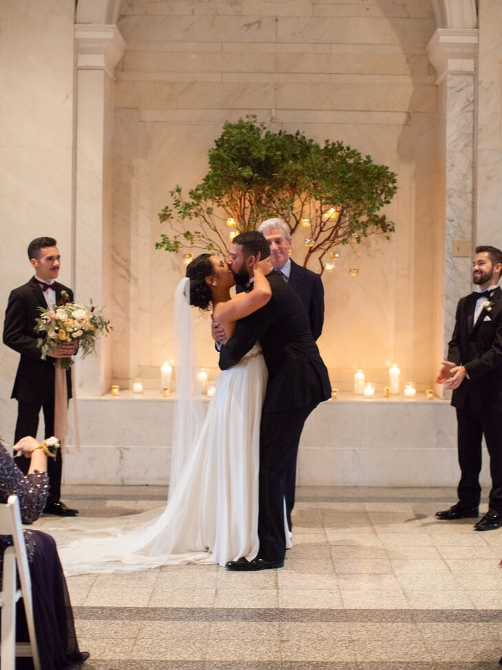 """""""It has become very common these days for couples to share a first look before they walk down the aisle,"""" Sydney says. """"Dustin and I were adamant about not seeing each other on our wedding day until I walked toward him to say 'I do.'"""""""