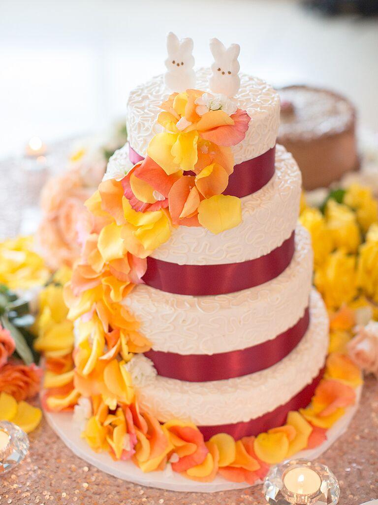 DIY Peeps wedding cake topper idea