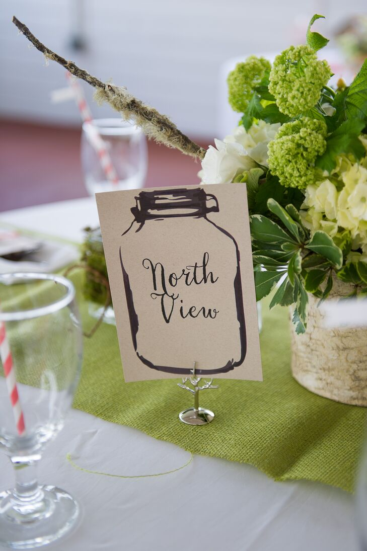 Illustrated Mason Jar Table Numbers