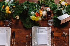Summery Moss Topped Farm Tables