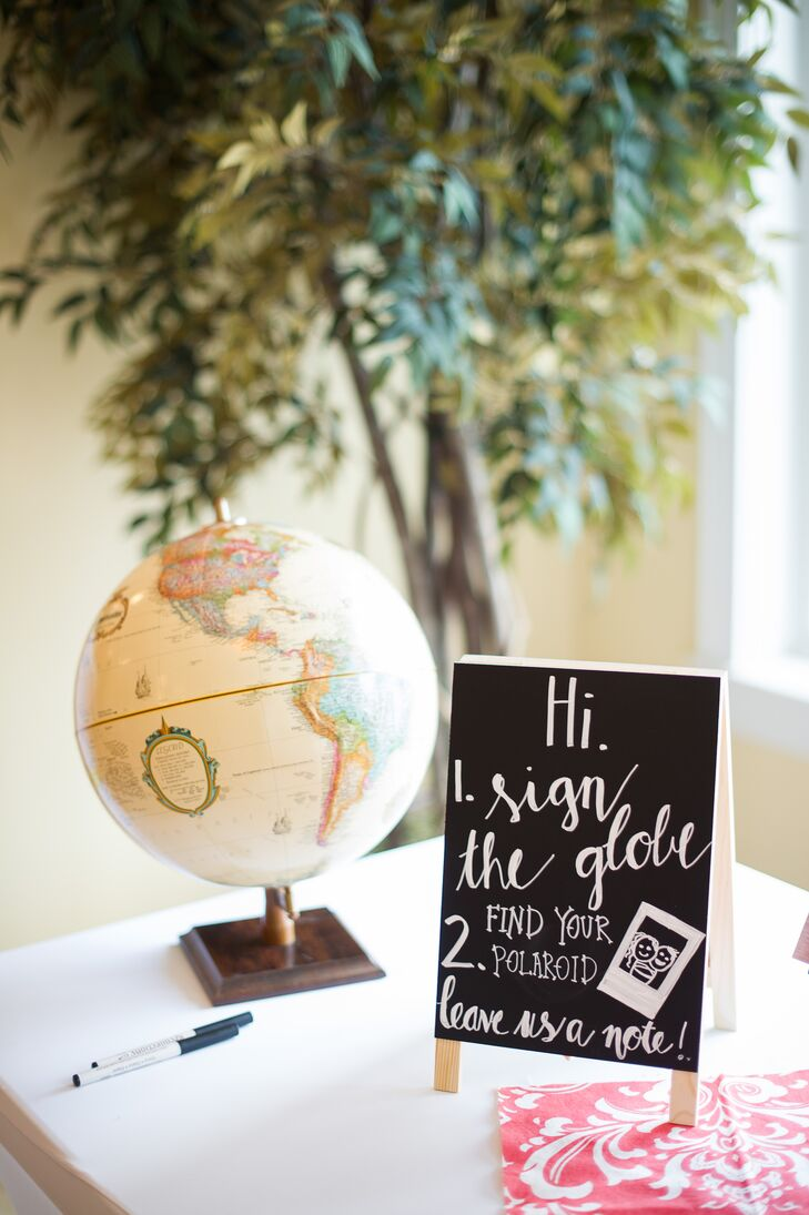 Globe and Polaroid Guest Book