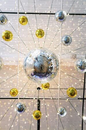 Disco Balls at Wedding at 701 Whaley in Columbia, South Carolina