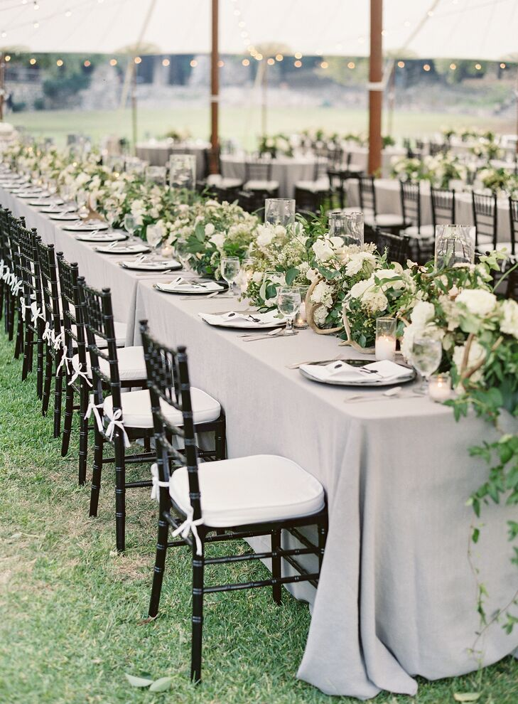 Long Tables with Lush Bouquet Tablescapes