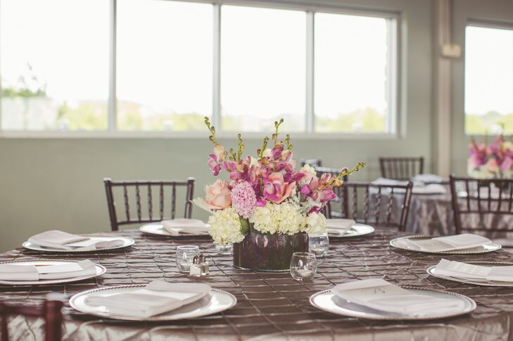 Spring Floral Arrangement on Textured Taupe Dining Linens