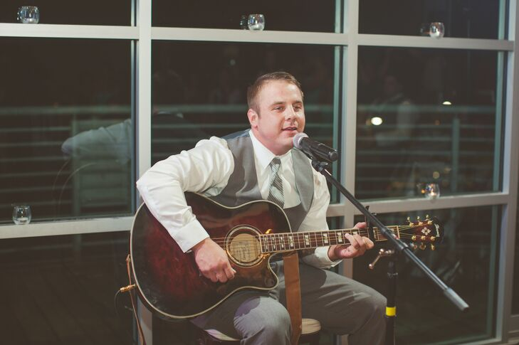 Groom Singing at Reception in The Terrace Club