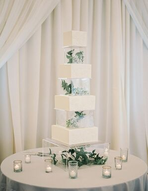 Modern Square Tiered Cake with Leaves and Candles