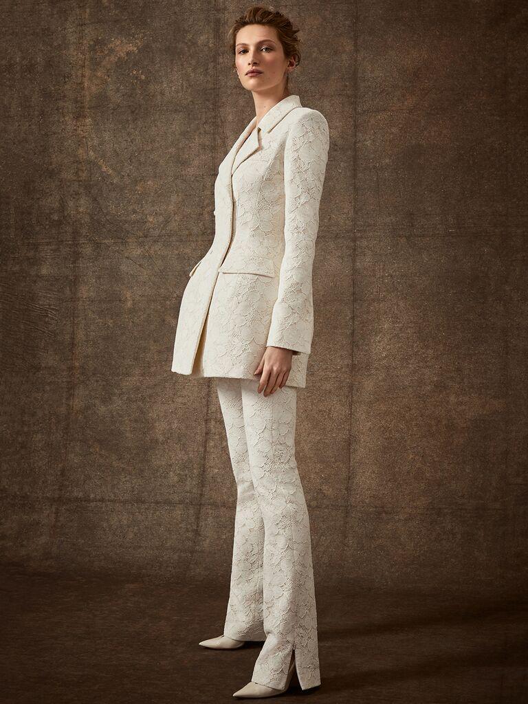 Danielle Frankel Spring 2020 Bridal Collection white lace wedding pant suit