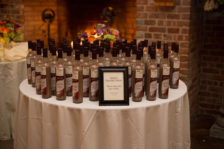 Rachel and Robert sent their guests home with favors that captured the essence of the setting, bottles of the winery's own Chocolate Therapy dessert wine.