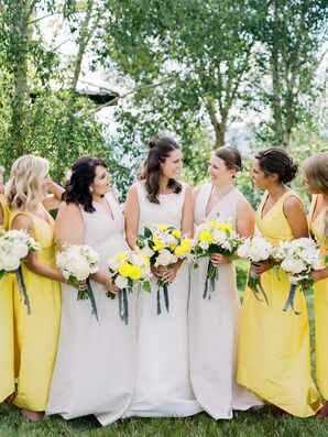 Bridesmaids in Ivory and Yellow Gowns