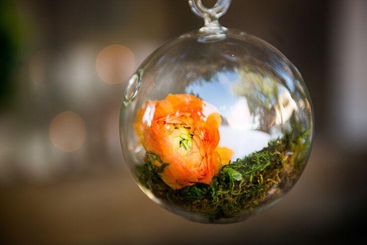 Hanging Glass Bauble With Orange Ranunculus Decor