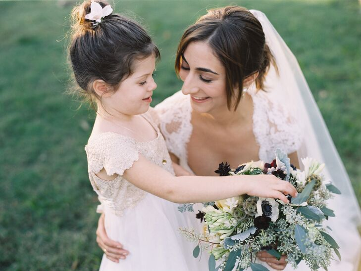 The couple's flower girl was Edward's four-year-old niece. She wore a Moonsoon kids dress that fit perfectly with the style of Eve's gown.