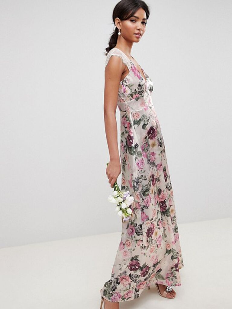 Floral bridesmaid dress with lace sleeves