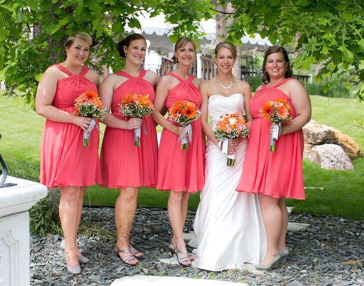 Short Guava Chiffon Bridesmaid Dresses