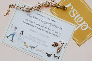 Whimsical Invitation Featuring the Couple and Their Pets