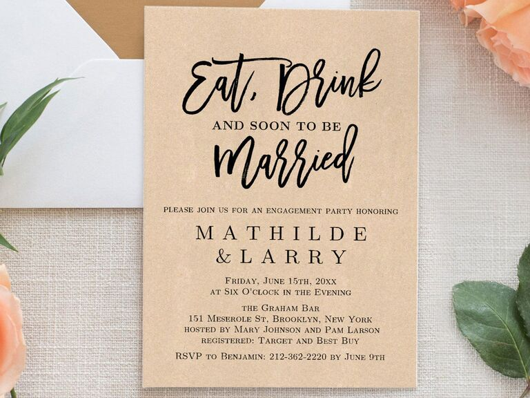 Eat, Drink and Soon to be Married engagement party invitation