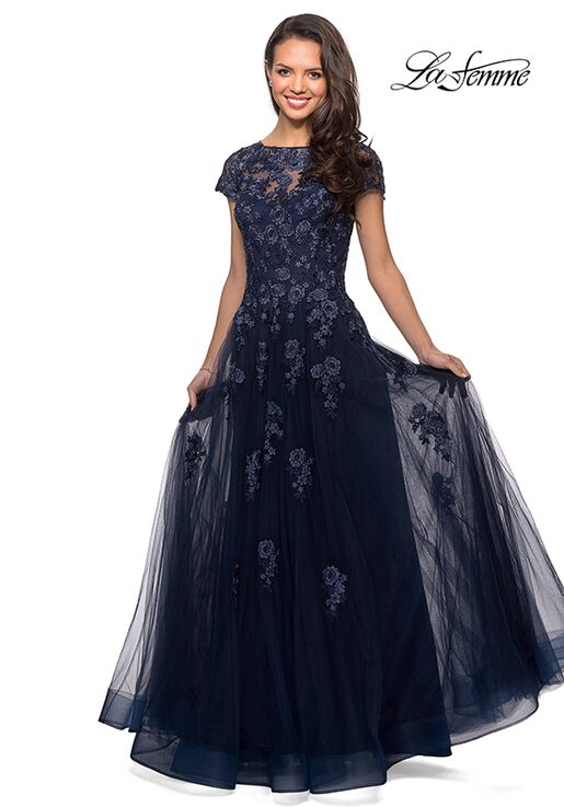 La Femme Evening 26907 Blue Mother Of The Bride Dress