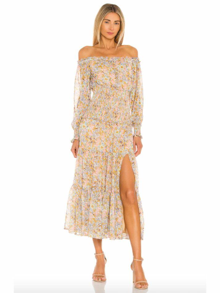 Off-the-shoulder maxi cottagecore dress with pastel floral print