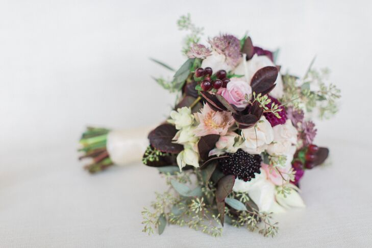 Purple Calla Lily Scabiosa and Rose Bouquet
