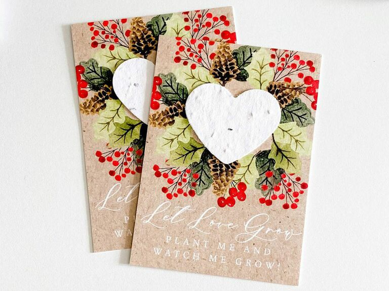 seed paper winter wedding favor