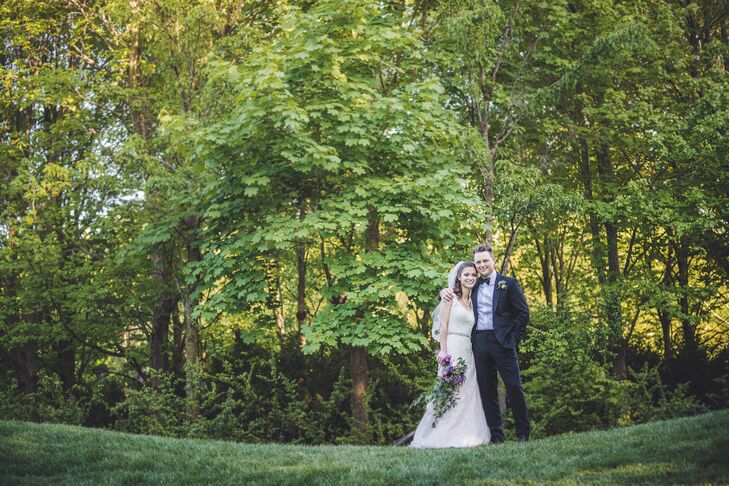 Alison and Casey incorporated lavender, burlap and lace details into their eclectic day.