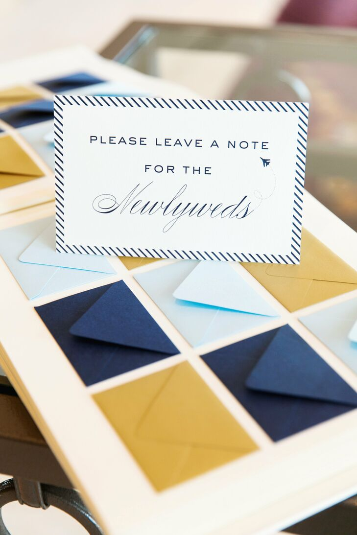 Guests placed their well wishes and advice for the newlyweds into miniature envelopes inside the guestbook.