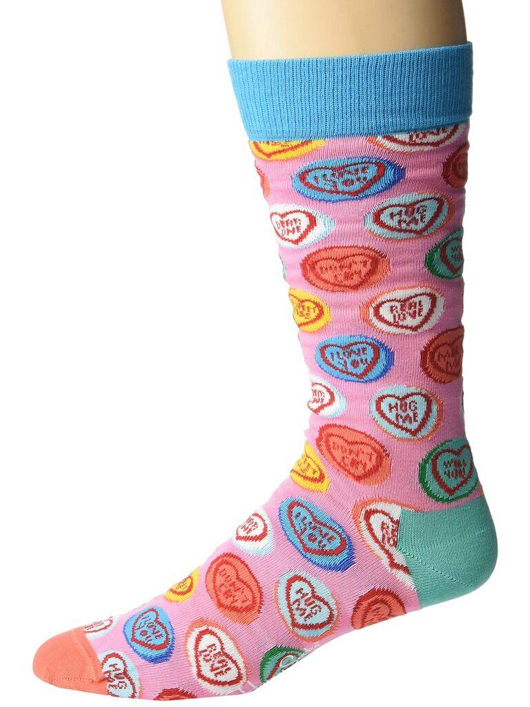 Conversation heart groomsmen socks