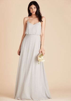 Birdy Grey Gwennie Dress in Dove Gray V-Neck Bridesmaid Dress