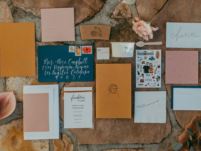 Wedding invitation trends flat lay
