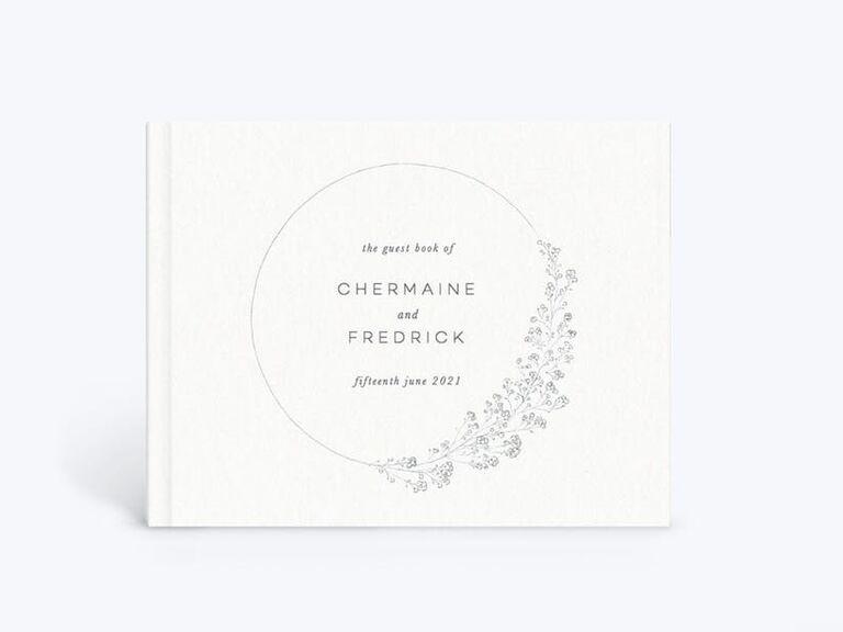 Classy white baby's breath motif wedding shower guest book