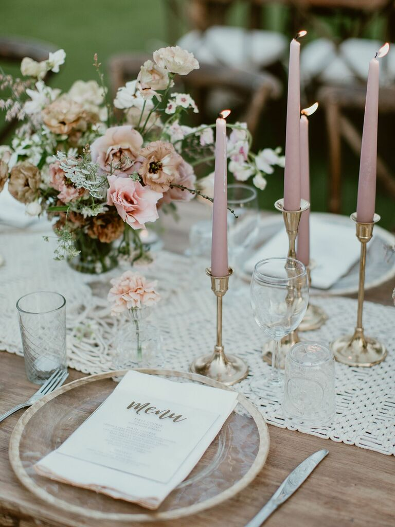 most popular wedding colors blush candles