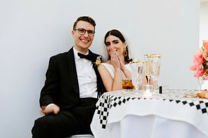Modern Couple at Black-and-White Reception
