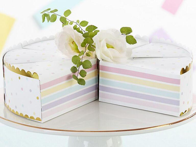 Cake slice boxes unique wedding favor