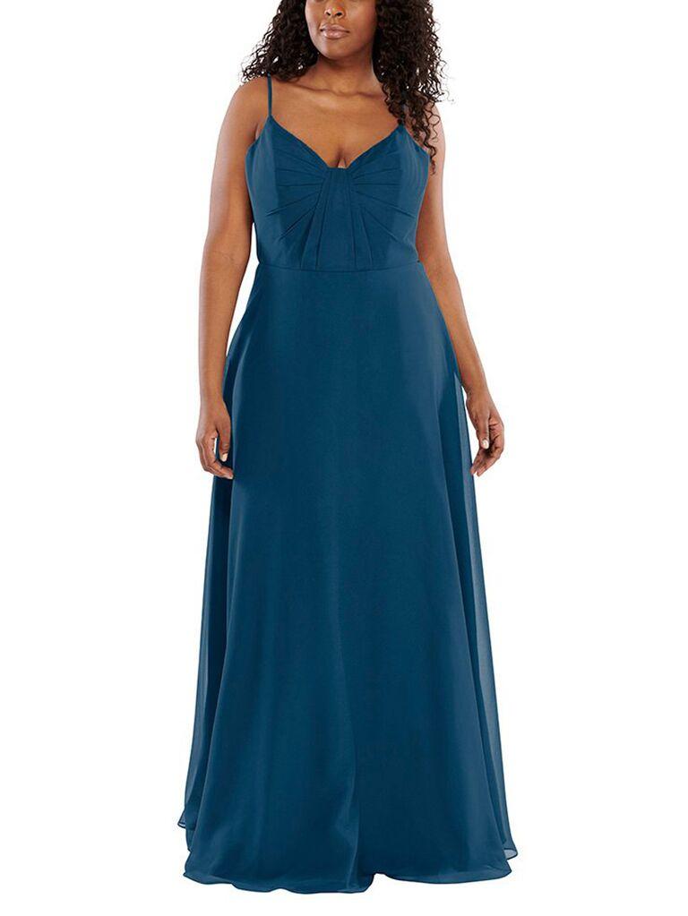 Blue long plus size bridesmaid dress
