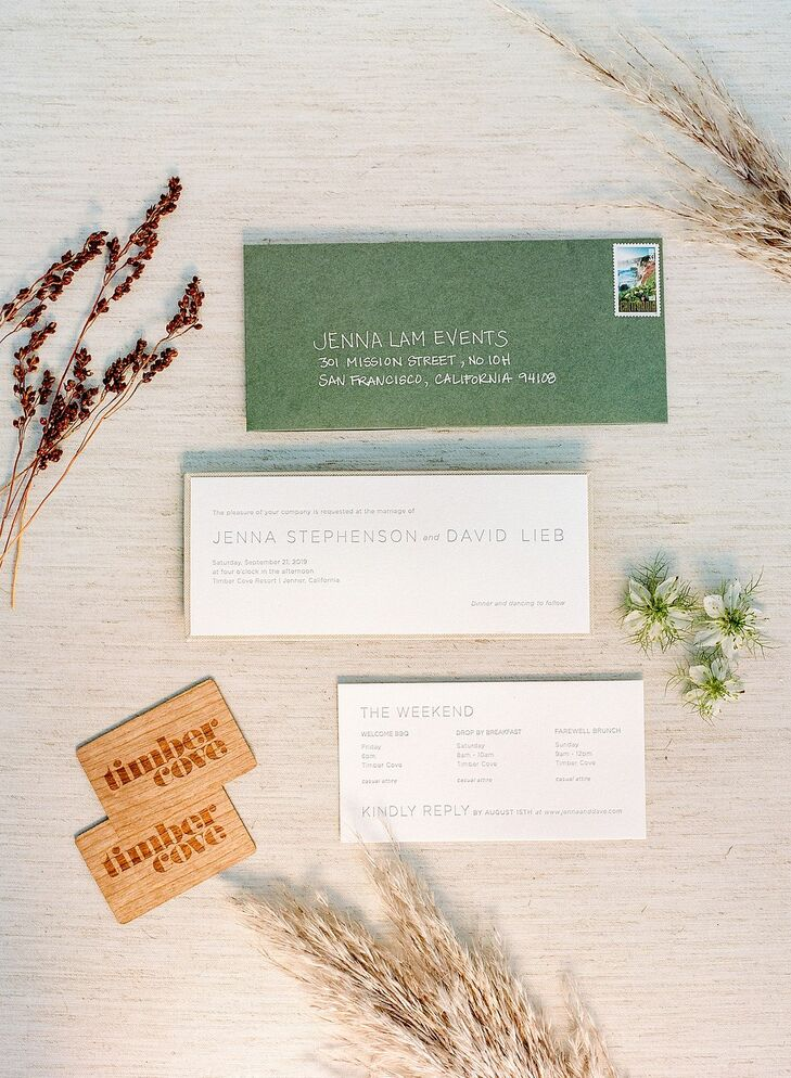 Green-and-White Invitations for Wedding at Timber Cove Resort in Jenner, California