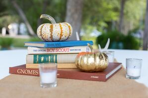 Vintage Book and Baby Pumpkin Decor