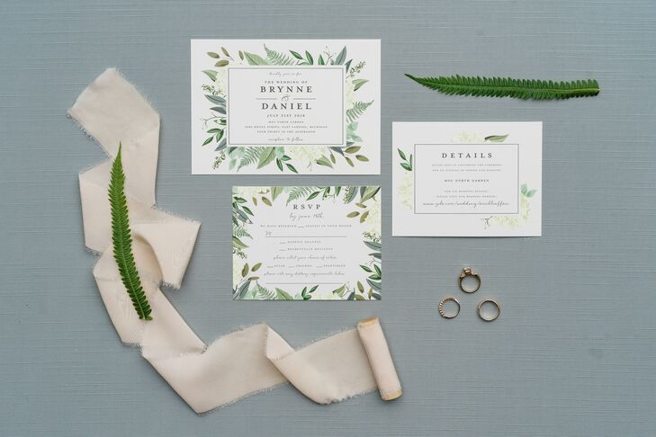 Classic Invitations with Greenery Design