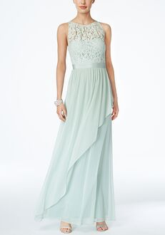 Adrianna Papell Adrianna Papell Lace Illusion Halter Gown Illusion Bridesmaid Dress