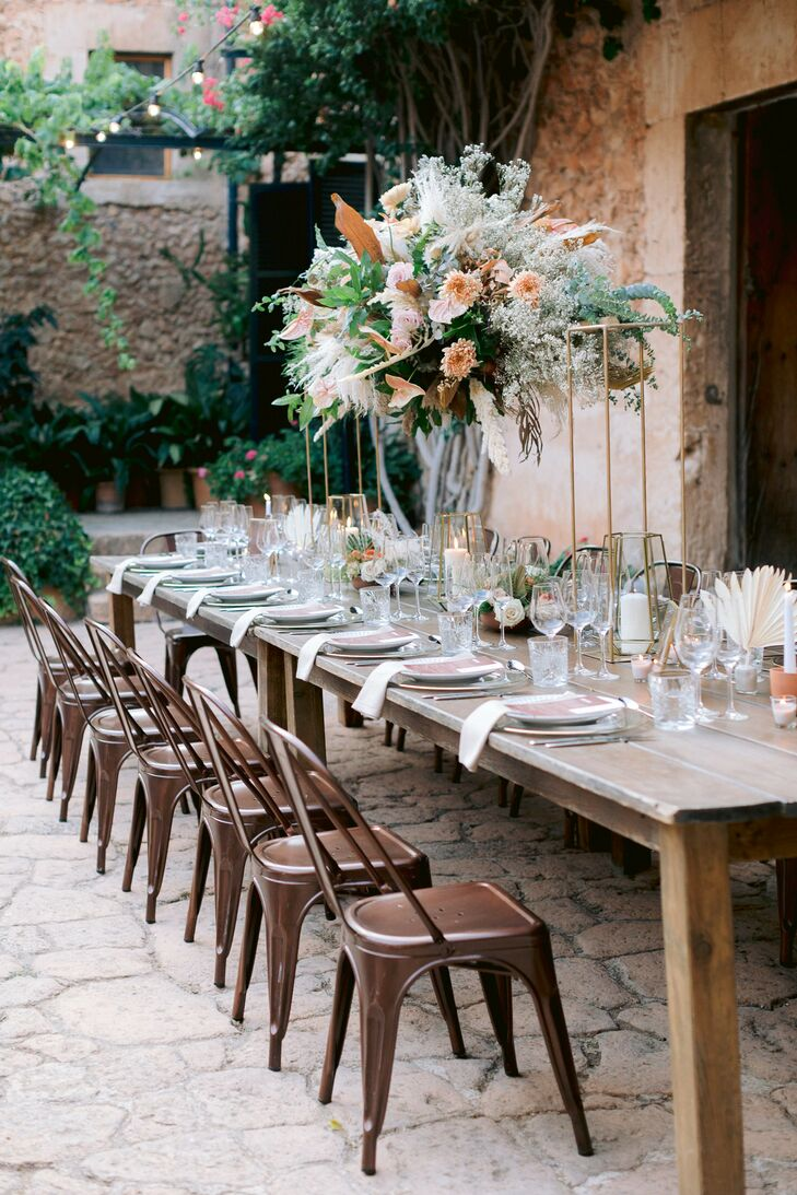 Farm Table and Copper Tolix Chairs for Mallorca Wedding Reception