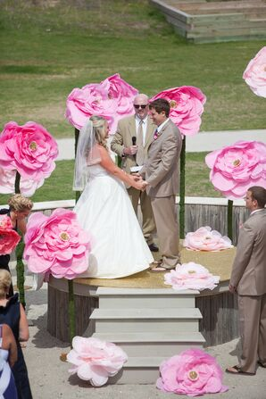 Whimsical Oversized Paper Flower Ceremony Decor