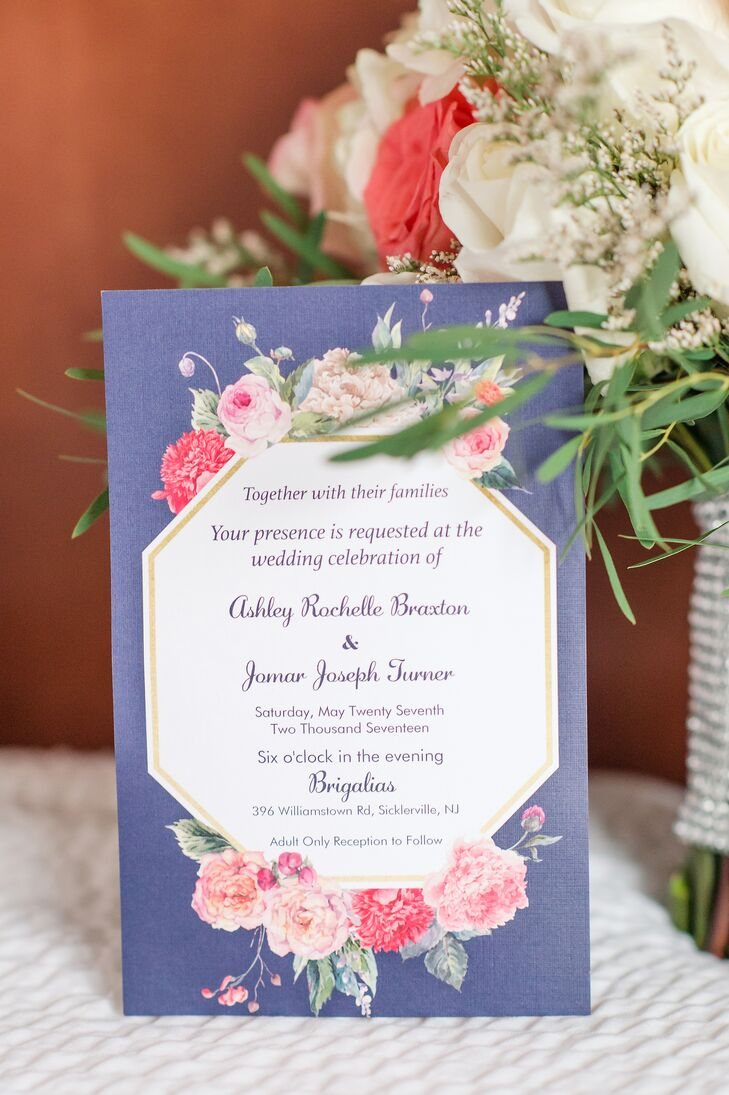 Blue Invitation with Coral Roses