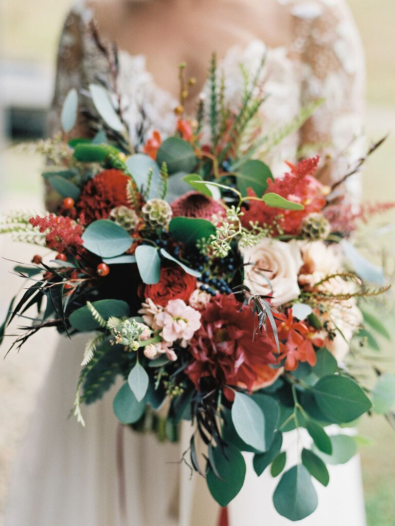 rustic red and green fall wedding bouquet