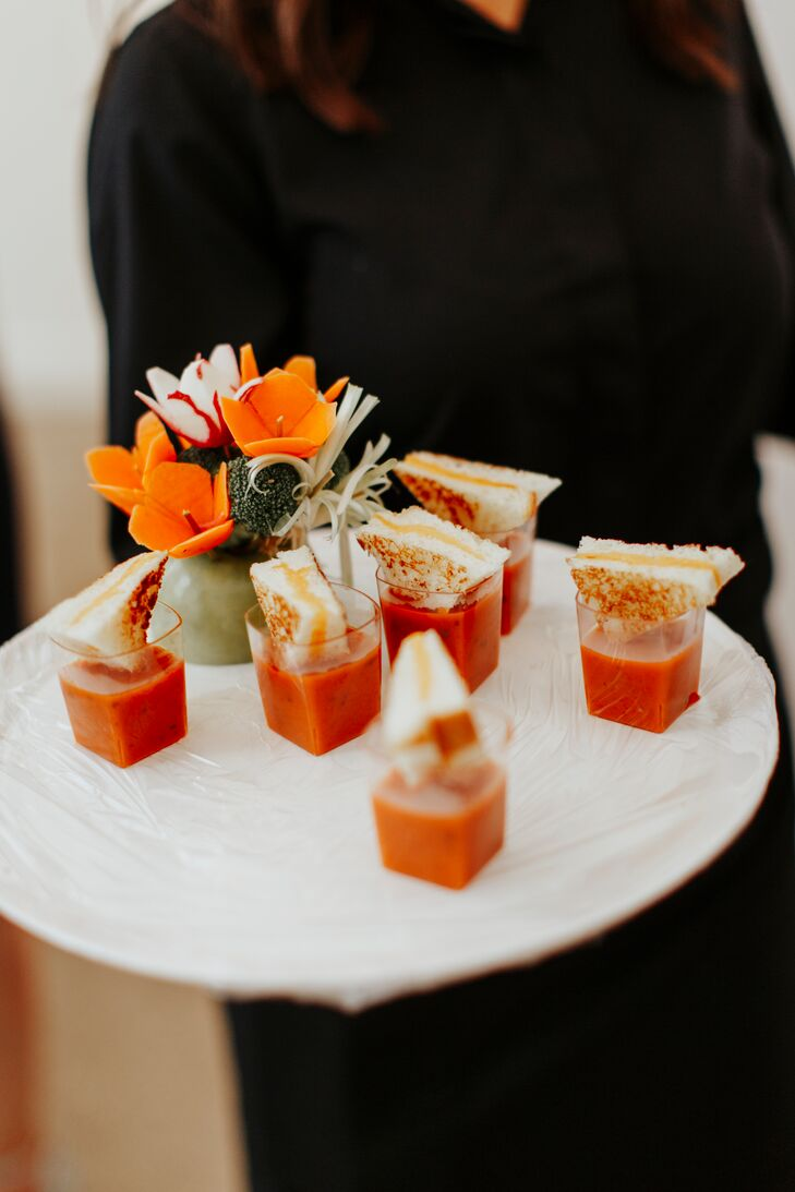 Passed Grilled Cheese and Tomato Soup Appetizer