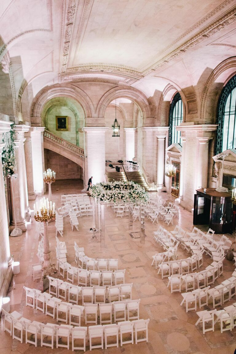 The Knot Dream Wedding ceremony setup at the New York Public Library