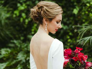 Bride with updo and bold lip