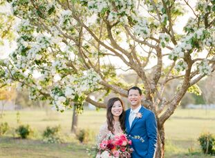 """Deborah Dou (29 and a business analyst) and Elton Wong (29 and a financial planner) met at the Houston Rodeo. """"Deborah was dressed in an orange top, j"""
