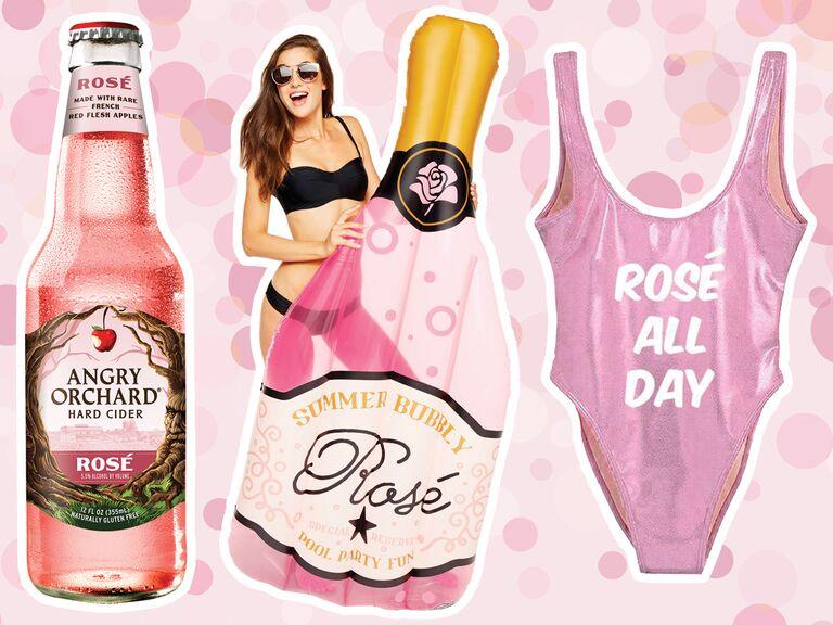 rosé-themed bachelorette party swag