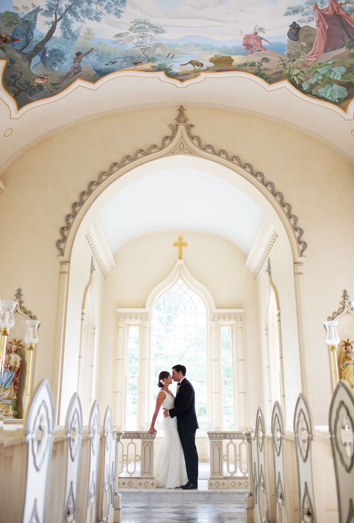 The couple's first look took place in the beautiful chapel on Trump Winery's grounds.