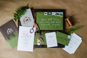 Rustic Green Invitation Suite with White Calligraphy and Custom Monogram