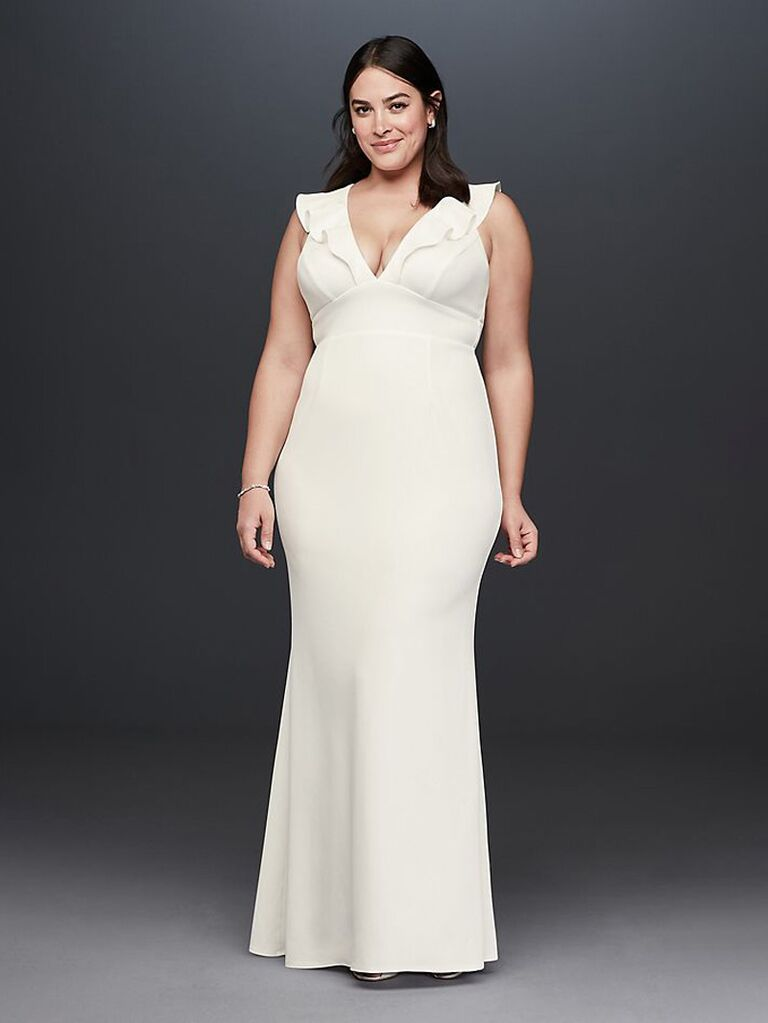 Long ivory plus size second marriage wedding dress with ruffles