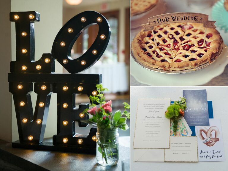 Love sign, pie and stationary